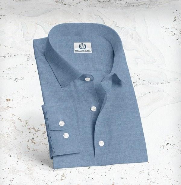 chemise denim bleu moyen sur mesure tailleur paris