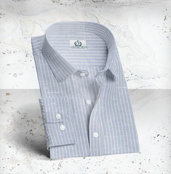 Chemise bleu Lin Rayures costume sur mesure tailleur paris