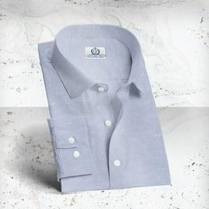 Chemise lin bleu ciel sur mesure tailleur paris