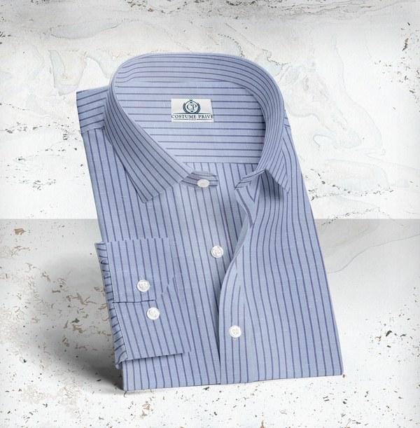 chemise lin bleu rayures bleu sur mesure tailleur paris