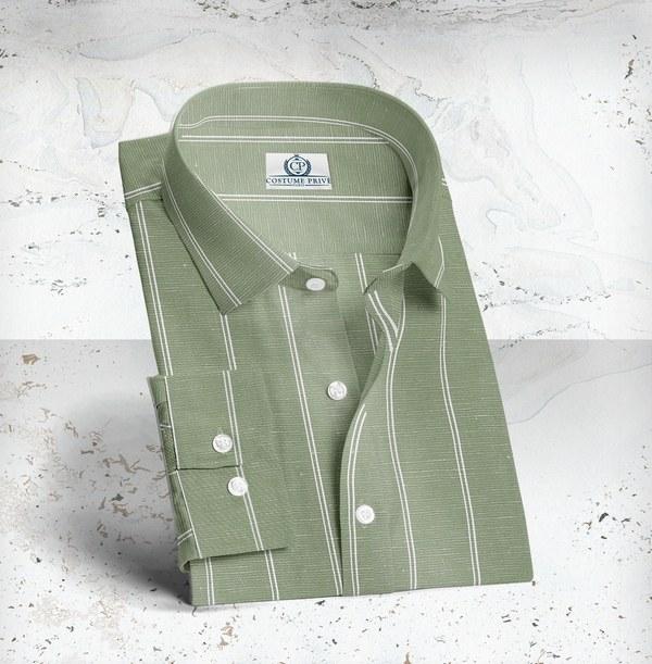 chemise verte lin rayures sur mesure tailleur paris