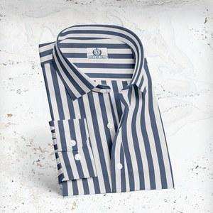 Chemise larges rayures Bleu blanc sur-mesure