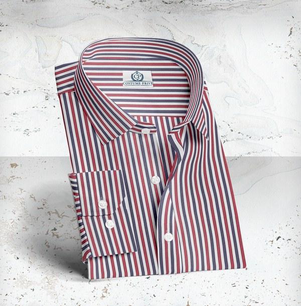 chemise rayures bleu blanc rouge sur mesure
