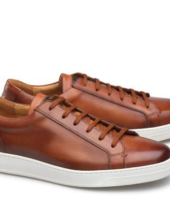 baskets cuir cognac Carlos Santos