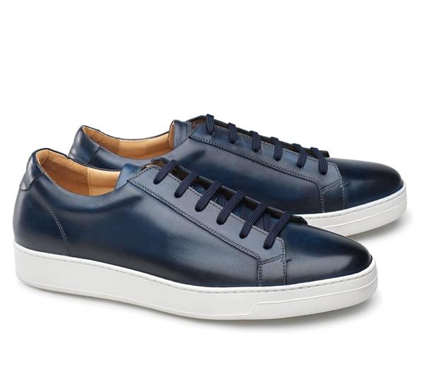 baskets cuir bleu