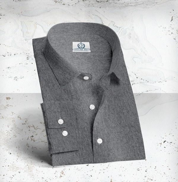 Chemise sur-mesure coton cachemire gris