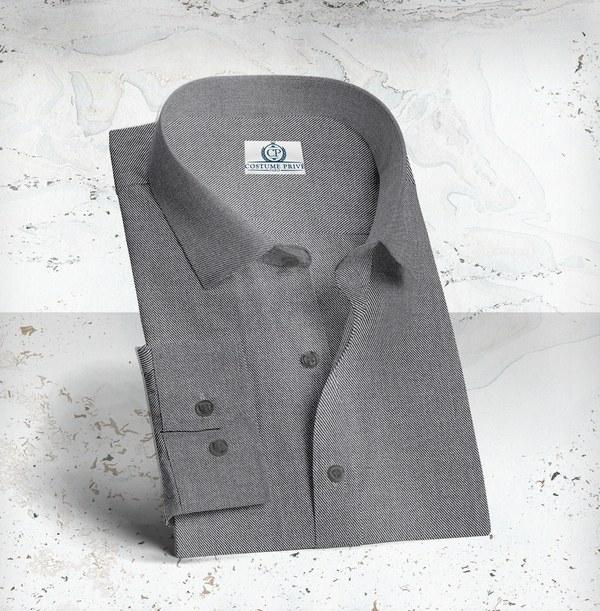 Chemise sur-mesure denim gris