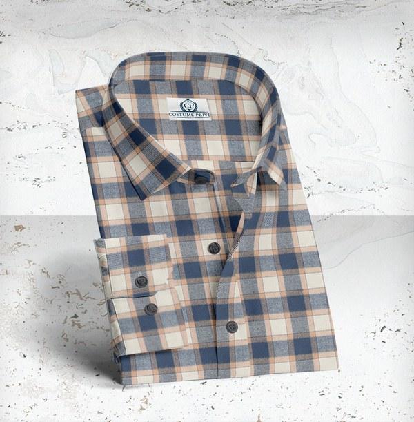 chemise carreaux beige bleu sur mesure paris costume privé
