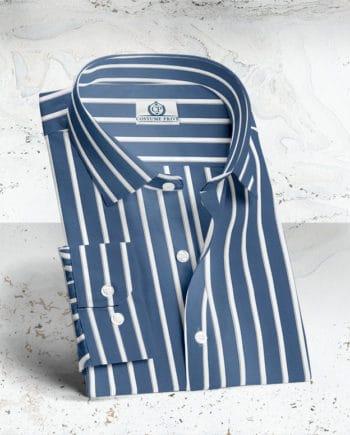 chemise rayures bleu blanc sur mesure costume privé paris