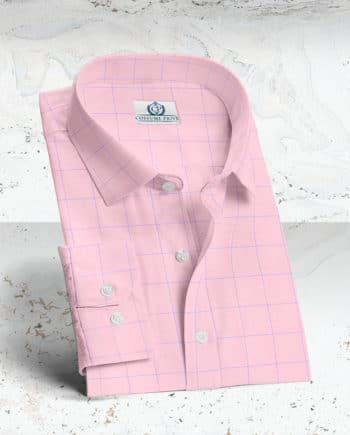 chemise rose carreaux bleu sur mesure paris costume privé