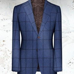 veste bleu moyen large carreaux bleu hiver sur mesure paris tailleur