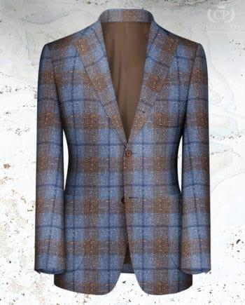 Veste marron bleu large carreau sur mesure tailleur paris
