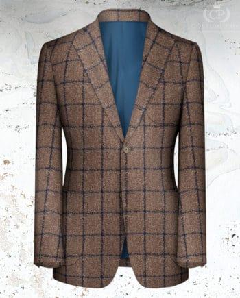 veste marron carreau bleu sur mesure paris tailleur
