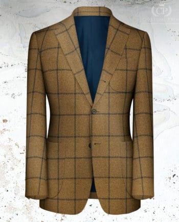 veste marron carreau large bleu laine hiver 20