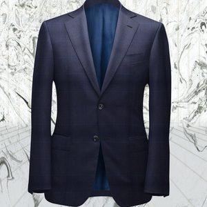 Costume bleu carreaux bleu clair sur-mesure tailleur paris