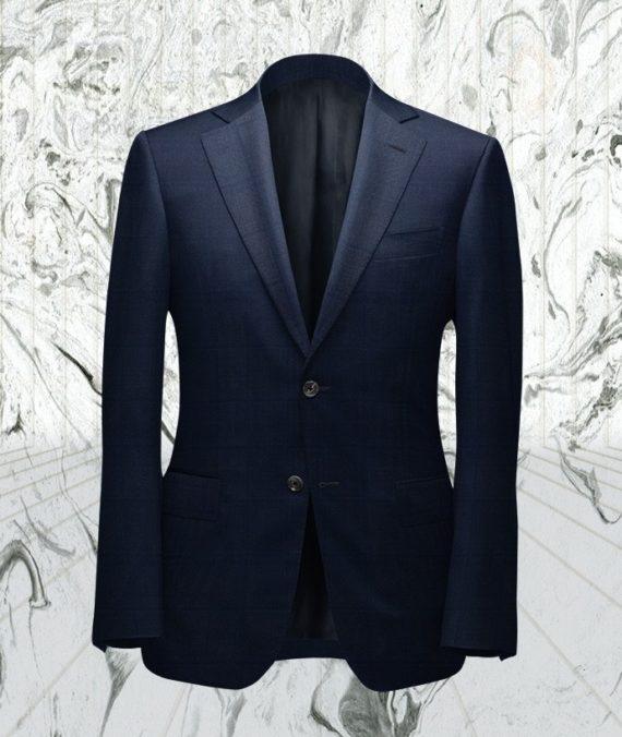 Costume bleu double carreaux bleu sur-mesure paris tailleur