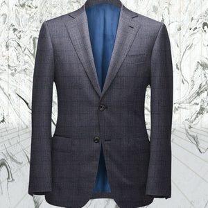 Costume gris carreaux bleu sur mesure tailleur paris