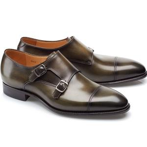 chaussures deux boucles vert bronze patiné