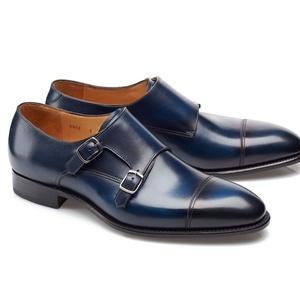 chaussures deux boucles bleu patiné