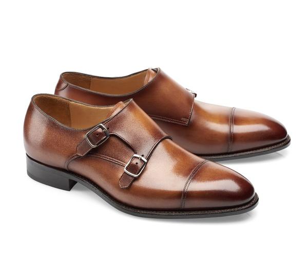 chaussures deux boucles cognac patiné