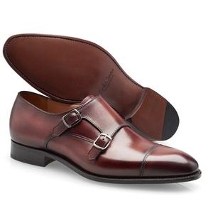 chaussures deux boucles bordeaux patiné
