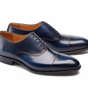 chaussures richelieu bleu patiné bout rapporté