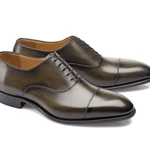 chaussures richelieu vert bronze bout rapporté