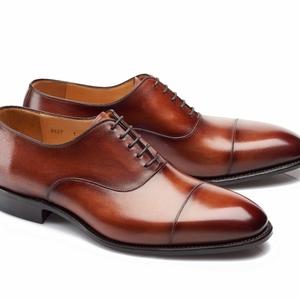 chaussures richelieu cognac bout rapporté
