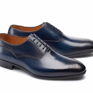 chaussures bleu patinée Richelieu bout fleurie
