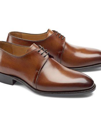 chaussures cognac patiné derby