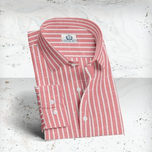 chemise rayures rouge lin coton