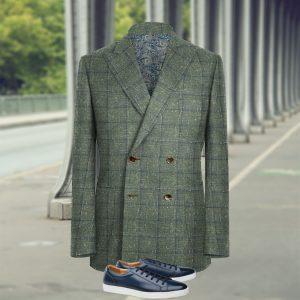 veste croisée sur mesure vert carreaux bleu costume privé paris