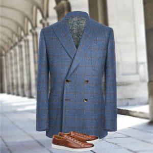 veste croisée sur mesure bleu carreaux marron costume privé paris