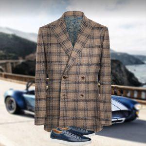 veste croisée sur mesure marron carreaux bleu costume privé paris